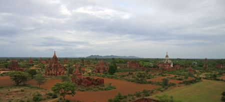 Landscape of the valley with the temples and stupas - Bagan - Myanmar - Panorama. photo
