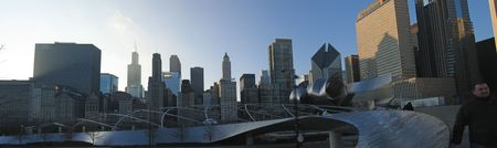 Grant Park - Circular walkway in front of the sky tower line - Chicago - Panorama.