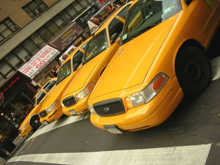 manhattans: Taxis on the start - New York. Stock Photo