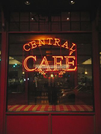 manhattans: Central cafe with flashy light - New York.