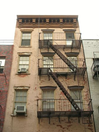 manhattans: Emergency staircase in a front building - New York. Stock Photo