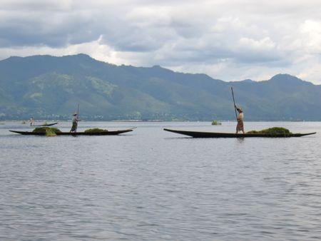 inle: Fishermen standing up on their boat - Inle lake - Myanmar.