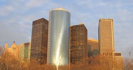 Sunset on the building tower skyline - New York - Panorama. Stock Photo - 829625