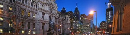 City Hall and high towers - Philadelphia - Large Panorama. Stock Photo