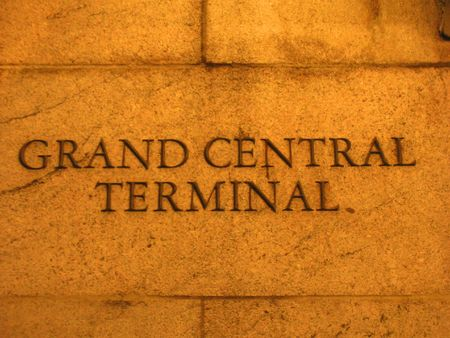 manhattans: Detail of the Grand Central Terminal wall - Rail station - New York.