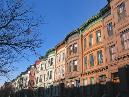its: Harlem district and its typical house - New York. Stock Photo