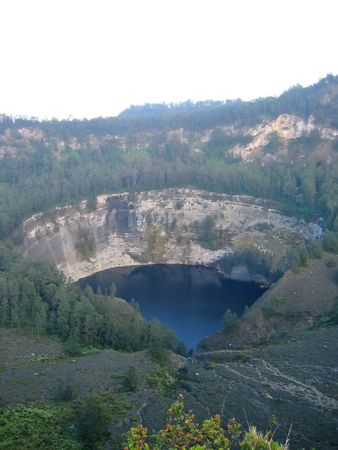 The blue crater lake - Kelimutu volcano - Flores - Indonesia. Stock Photo - 829958