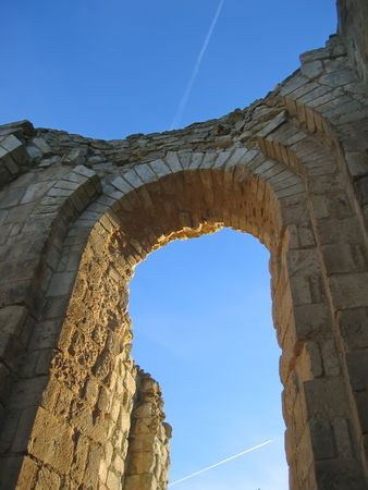Detail of the Maillezais french abbey arch - France. Stock Photo