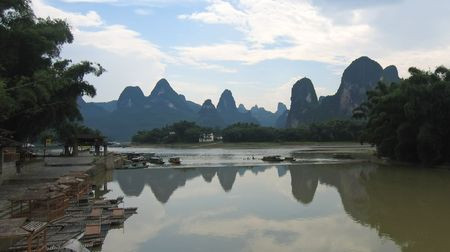 steely: Mountains of the Li Jiang river - Guilin - China - Panorama. Stock Photo