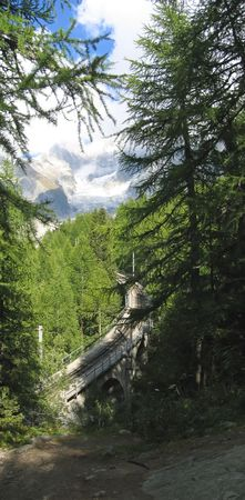 Railway going from Chamonix to the Sea of Ice - France - The Alps - Vertical Panorama.