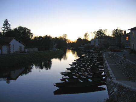 Many small boats near the swamp of Poitevin - France. Stock Photo - 852459
