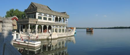 The Pagoda imperial  boat on the lac - Summer Palace - Beijing - China - Panorama.