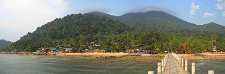 Tropical beach with jungle mountains - Tioman islands - Malaysia - Panorama. photo