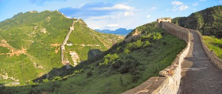 wall clouds: Walking on the Great Wall of China - China - Panorama. Stock Photo