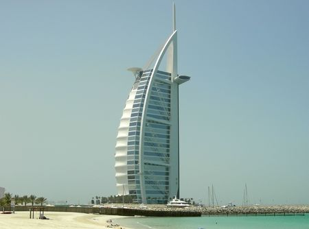 Arabic new fashion hotel on the beach - Dubai - Arab Emirates. Stock Photo