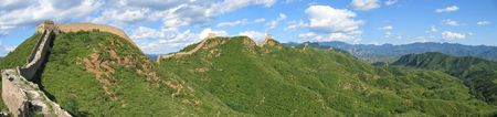 Large view of the Great Wall of China ond the mountains - China - Panorama. photo