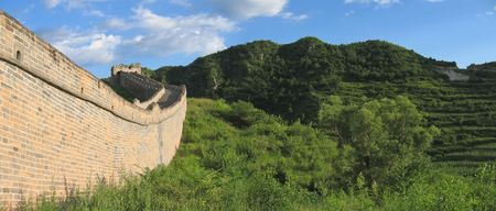 Detail of the Great Wall of China - China - Panorama. photo