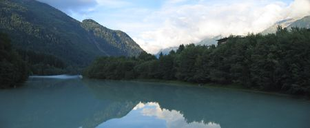 Lake and the mountains - Les Houches - Chamonix - France - The Alps - Panorama.