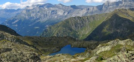 Small lake and the mountains - Aiguillette des Houches - Brevent - France - The Alps - Panorama. photo