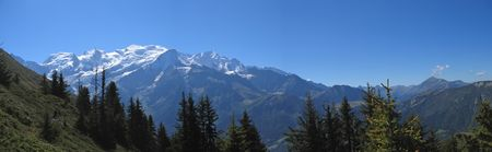 White mountains with snow - Aiguillette des Houches - Brevent - France - The Alps - Panorama. Stock Photo
