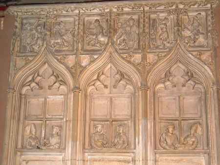 writing western: Detail of a sculpture in the wood - The Jacques Coeur Palace - Bourges - France.
