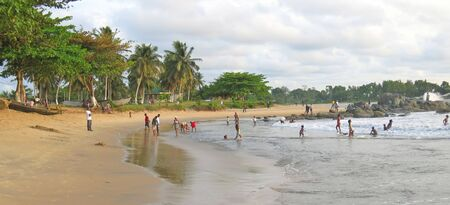 African tropical beach and sea - Cameroon - Africa - Panorama. Stock Photo