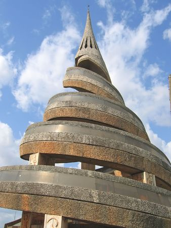 cameroonian: African urban modern architecture with spiral - Cameroon - Africa. Stock Photo
