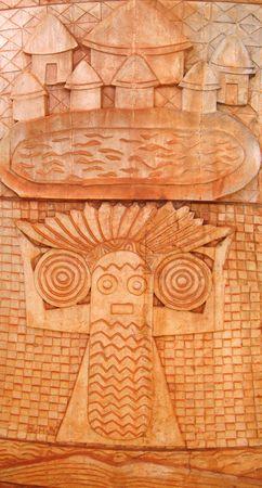 cameroon: Dettaglio di una vecchia ceramica disegno su un capo casa - Camerun - Africa - Panorama verticale. Archivio Fotografico