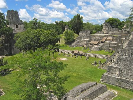 Plaza of old maya ruins in the jungle - Tikal - Guatemala. Stock Photo