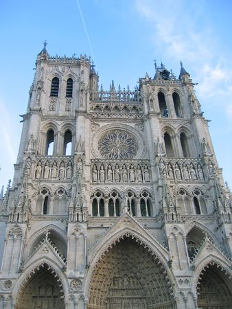 writing western: Front view of the cathedral with blue sky - Amiens - France. Stock Photo