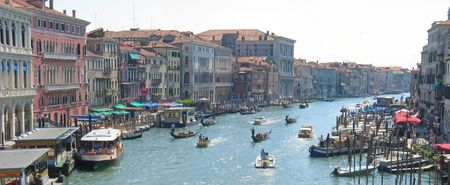 Condolas and old houses on a the main water canal - Venice - Italia - Panorama. Stock Photo