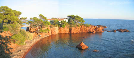 English beach in Antheor city - Azur coast - South of France - Panorama. photo