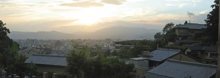 View on the japanese city at the sunset - Kyoto - Japan - Panorama. Stock Photo