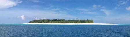 Blue see and white sand of the Mnemba atoll - Zanzibar - Tanzania - Panorama.