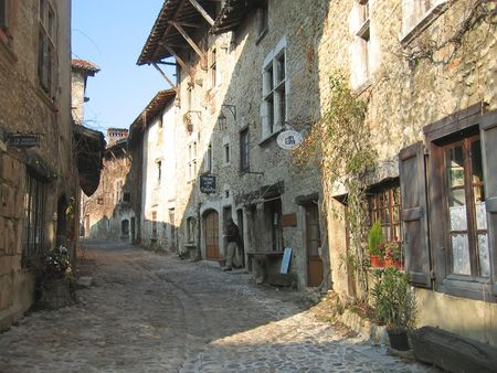 Medieval old city street - Perouges - France.