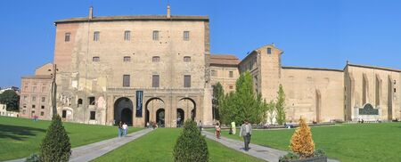 Pilotta palace and its italian garden - Parma - Italia - Panorama. Stock Photo