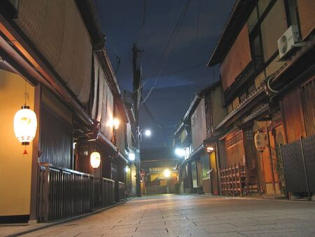 Pontoncho street famous for geisha by night - Kyoto - Japan. Stock Photo
