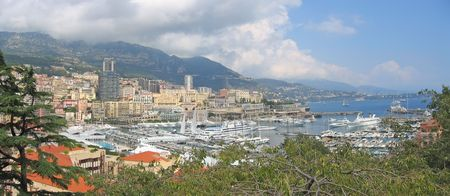 azur: French harbour - Monaco and Monte Carlo - Azur coast - South of France - Panorama.