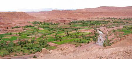 Moroccan fortress in a desert oasis - Ait Benhaddou Ksar - Ouarzazate - Morocco - Panorama.
