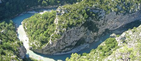 azur: River in provencal mountains with pine trees - Verdon Gorges - Azur coast - South of France - Panorama. Stock Photo