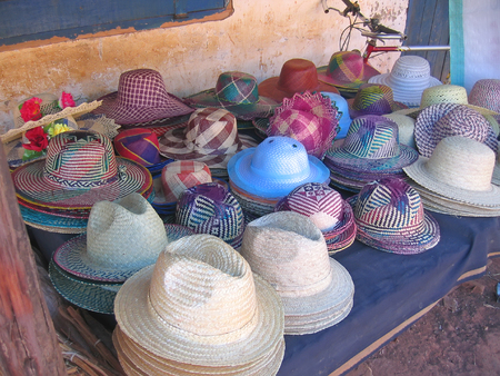 Colored hat to sell - Ambalavao - Madagascar.