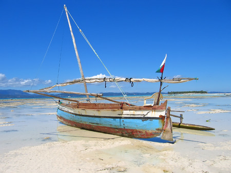 Detail of a fisherman boat - Nosy Iranja - Nosy Be island - Madagascar. Stock Photo