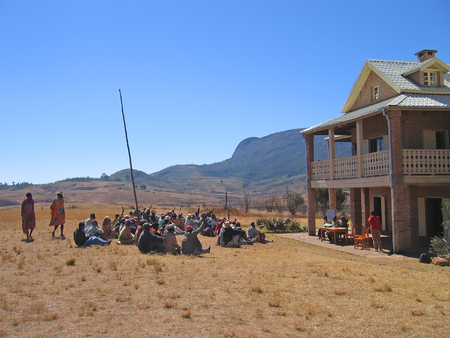 Farmer meeting in the countryside - Andringitra park - Madagascar.