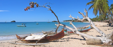 Fisherman boats - Andilana beach - Nosy Be island - Madagascar - Panoramique.