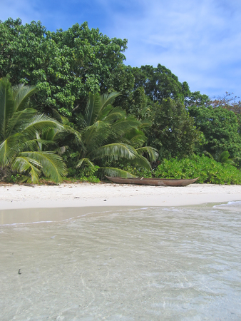 steely: Jungle and blue sea from Nattes island - Nosy Boraha - Sainte-Marie island - Madagascar. Stock Photo
