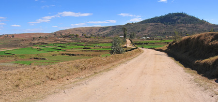 Large dirty track in the country - Antsirabe - Madagascar - Panoramique.