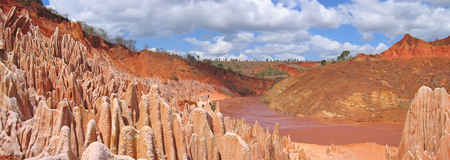 steely: Many peaks - Red Tsingy - Antsiranana and Diego Suarez - Madagascar - Panoramique. Stock Photo