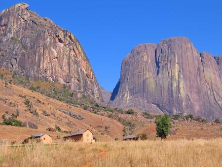 Mountains and savannah - Andringitra park - Madagascar. Stock Photo