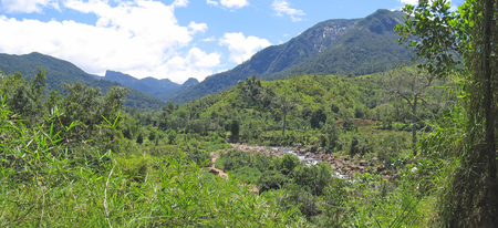 River in a tropical jungle with high mounts - Andapa - Marojejy park - Madagascar - Panoramique. Stock Photo