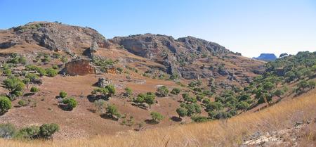 Rocky mountains and savannah - Isalo park - Madagascar - Panoramique. photo